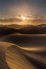 Preview iPhone wallpaper Desert, dune, wind, clouds, sunset
