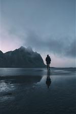 Anoitecer, mar, água, montanha, nevoeiro, garota
