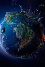 Preview iPhone wallpaper Earth, roads, city, planets, space, creative picture