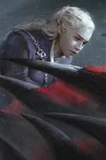 Preview iPhone wallpaper Emilia Clarke, Game of Thrones, dragon, art picture