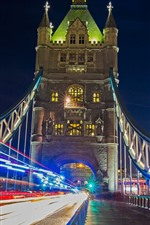 Preview iPhone wallpaper England, London, Tower bridge, light lines, city, night