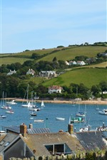 England, yachts, boats, village, houses, fields
