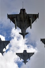 Eurofighter Typhoon, fighter, clouds, sky