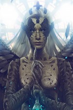 Preview iPhone wallpaper Fantasy girl, angel, wings, white hair