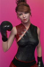 Fantasy girl, boxing, pink background