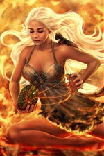 Preview iPhone wallpaper Fantasy girl, fire, flame, dragon eggs, art picture