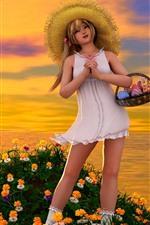 Fantasy little girl, blonde, flowers, sea