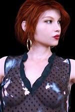 Fantasy red hair girl, black background