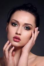 Preview iPhone wallpaper Fashion girl, green eyes, black hair, makeup