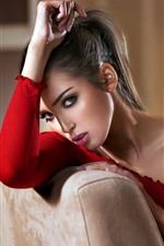 Preview iPhone wallpaper Fashion girl, red dress, room
