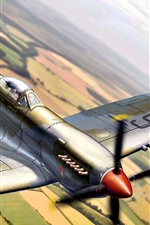 Fighter, fields, sky, art  picture
