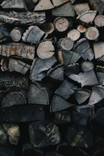 Preview iPhone wallpaper Firewood, wood wall