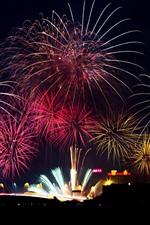 Fogos de artifício, noite, feriado, Macau