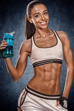 Preview iPhone wallpaper Fitness girl, muscle, bottle