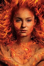 Preview iPhone wallpaper Flame girl, fire, crack, fantasy