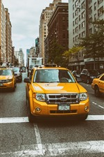 Preview iPhone wallpaper Ford Taxi, yellow cars, city, New York
