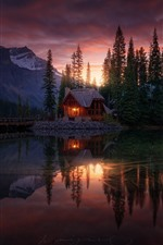 Preview iPhone wallpaper Forest, lake, house, sunset, dusk