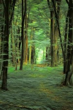 Forest, trees, green, art style