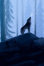 Forest, wolf, art picture