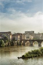 Preview iPhone wallpaper France, Albi, city, river, bridge, houses, morning, fog