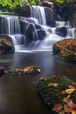 iPhone fondos de pantalla Francia, Bretaña, cascada, piedras, hojas, musgo, cala