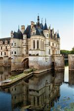 iPhone fondos de pantalla Francia, chenonceau, castillo, estanque, agua