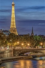 France, Paris, city night, Eiffel Tower, river, bridge, lights