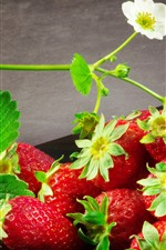 Preview iPhone wallpaper Fresh strawberry, flowers, delicious fruit