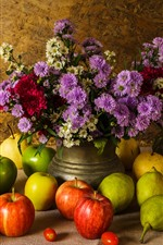 Preview iPhone wallpaper Fruit, green and red apples, pears, pumpkin, flowers, still life