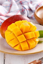 Preview iPhone wallpaper Fruit, mango, knife
