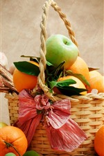 Preview iPhone wallpaper Fruit, oranges, apples, basket