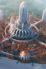 Future, city, tower, bridge, river, clouds, art picture