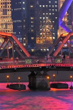 Preview iPhone wallpaper Garden Bridge of Shanghai, China, river, illumination, city, night