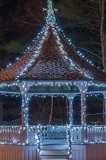 Gazebo, holiday lights, night