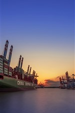 Preview iPhone wallpaper Germany, Hamburg, port, ship, sea, sunset