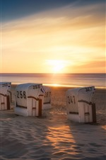 Preview iPhone wallpaper Germany, Lower Saxony, sun loungers, beach, sea, sunset