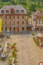 Preview iPhone wallpaper Germany, Oberwesel, beautiful town, cafe, people