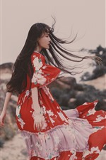 Preview iPhone wallpaper Girl in the wind, long hair, skirt, summer