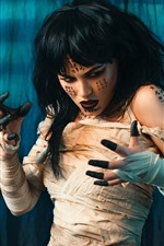 Preview iPhone wallpaper Girl, mummy, tattoo, horror