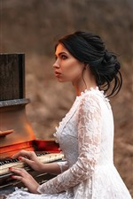 Preview iPhone wallpaper Girl play piano, fire, flame