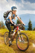 Preview iPhone wallpaper Girl ride bike, travel, grass, trees, mountains