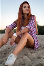 Preview iPhone wallpaper Girl sit on ground, pose, legs