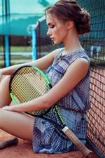 Preview iPhone wallpaper Girl sit on ground, racket, tennis, sport
