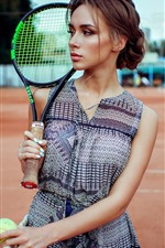 Preview iPhone wallpaper Girl, tennis, racket