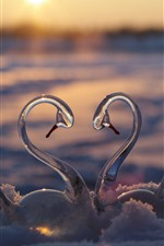Preview iPhone wallpaper Glass swan toy, snow, love heart