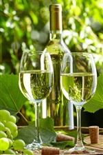 Preview iPhone wallpaper Green grapes, wine, bottle, glass cups, sunshine