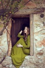 Preview iPhone wallpaper Green skirt girl, window, wall