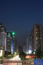Preview iPhone wallpaper Guangzhou, city at night, buildings, road, traffic, lights