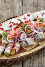Herring slices, cucumber, meal, food