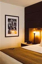 Preview iPhone wallpaper Hotel, bedroom, bed, warm light